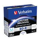 Verbatim 25GB BD-R Printable Jewel Case MDISC Blu-Rays, Pack of 5 - 43823
