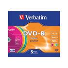 Verbatim Colour 4.7GB 16x Speed DVD-R, Pack of 5 - 43557