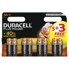 Duracell AA Plus Power Batteries, Pack of 8 - PLUS POWER AA 5+3