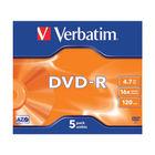 Verbatim 4.7GB 16x Speed Jewel Case DVD-R, Pack of 5 - 43519
