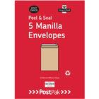 PostPak Manilla C5 Peel and Seal Envelopes 115gsm, Pack of 200 - 9731326
