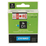 Dymo D1 Labelmaker Tape 12mm x 7m Red on White | S0720550