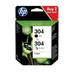 HP 304 Tri-colour Black Ink Cartridge Twin Pack  3JB05AE