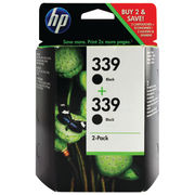 Image of HP 339 Black Inkjet Cartridge Twin Pack - C9504EE