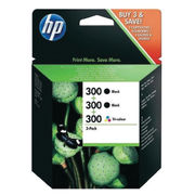 Image of HP 300 Black and Colour Ink Cartridge Triple Pack | SD518AE