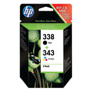 Image of HP 338 & 343 Black and Tri-Colour Ink Cartridge Combo Pack | SD449EE