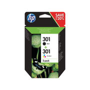 Image of HP 301 Black and Colour Ink Cartridge Combo Pack - N9J72AE