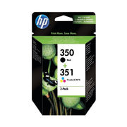 Image of HP 350/351 Black and Tri Colour Ink Cartridge Combo Pack - SD412EE