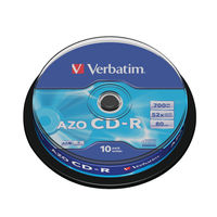 View more details about Verbatim White Face 700MB 52x Extra Protection CD-R, Pack of 10 - 43437