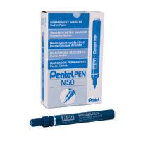 Pentel N50 Blue Bullet Tip Markers, Pack of 12 - N50-C