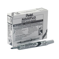 Pentel Maxiflo Black Bullet Tip Whiteboard Markers, Pack of 12 - MWL5S-A