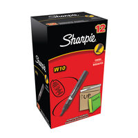Sharpie W10 Black Permanent Markers, Pack of 12 - S0192652