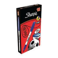 Sharpie Fine Tip Blue Permanent Marker Pens, Pack of 12 - S0810950