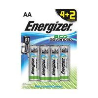 Energizer EcoAdvanced Alkaline AA Batteries, Pack of 4 + 2 Free - E300135600