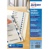 Avery 10 Part Index Maker Dividers, Clear - 05113081
