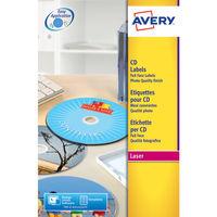 Avery CD/DVD White Full Face Glossy Labels (Pack of 50) - L7760-25