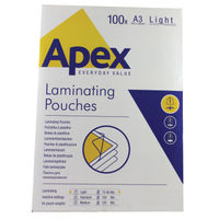 Fellowes Apex A3 Light Duty Laminating Pouches, Pack of 100 - BB58484