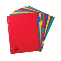 Elba A4 Extra Wide, Coloured, Plain Tabs, 10 Part Index Dividers - 400007516