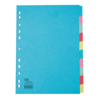Elba A4+ Extra Wide 10 Part Plain Tabs, Assorted Index Divider 160gsm- M57274120