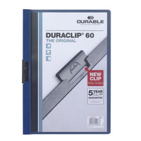 Durable Duraclip A4 Dark Blue 6mm Clip Folders - Pack of 25 - VGP-MR100E