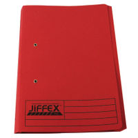 Rexel Jiffex Foolscap Red Transfer File with Pocket 315gsm, - Pack of 25 - 43318