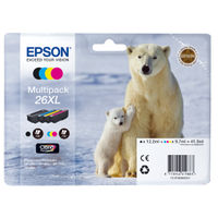 View more details about Epson 26XL Black /Cyan/Magenta/Yellow High Yield Inkjet Cartridge (Pack of 4) C13T26364010 / T2636