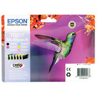 View more details about Epson T0807 Black and Colour Ink Cartridge Multipack - C13T08074010