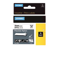 Dymo Rhino Nylon Label Tape - Black & White - 18489