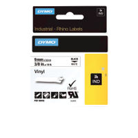 Dymo Vinyl Tape 9mm Black on White - 18443
