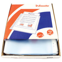 Esselte A4 Clear Embossed Plastic Pockets (Pack of 100) 23752