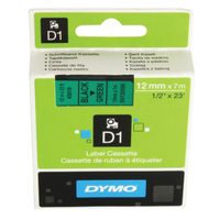 Dymo D1 Standard Label Tape Black on Green - 45019 / S0720590