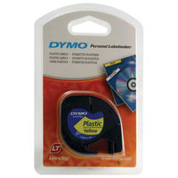 Dymo LetraTag Plastic Label Tape - Black on Yellow - S0721620