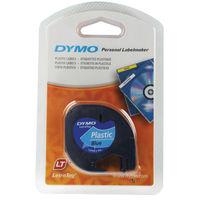 Dymo LetraTag Plastic Label Tape - Black on Blue - ES91205