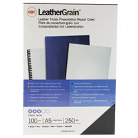 View more details about GBC Leathergrain Black A5 Window Binding Covers 250gsm, Pack of 100 - 4400017