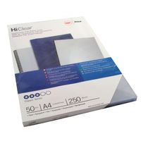 GBC Economy PVC Clear Covers 250 Micron, Pack of 50 - 41605U