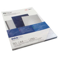GBC Super Clear PVC Covers 250 Micron, Pack of 50 - 41606U