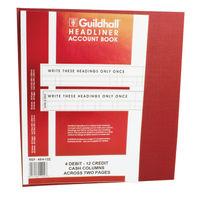 Guildhall 48 Series Headliner Book 48/4-12, 4 Debit and 12 Credit - 1292
