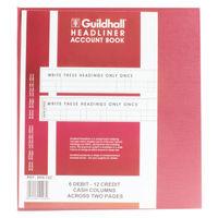 Guildhall 48 Series Headliner Book, 6 Debit 12 Credit Columns - 1293