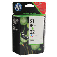 View more details about HP 21/22 Black /Cyan/Magenta/Yellow Ink Cartridges (Pack of 2) SD367AE
