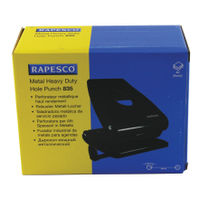 Rapesco 835 Heavy Duty Black 2-Hole Punch - PF800AB1