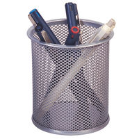 Q-Connect Silver Mesh Pen Pot - KF00846