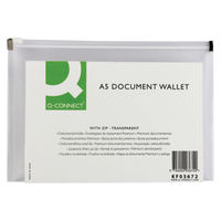 Q-Connect Transparent A5 Document Zip Wallet, Pack of 10 – KF03672