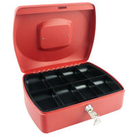 Q-Connect 10 inch Red Cash Box - KF04251
