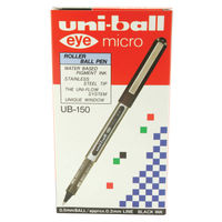 uni-ball Eye Micro Rollerball Black Pens, Pack of 12 - 162545000