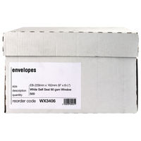 View more details about White C5 Self Seal Window Envelopes 90gsm, Pack of 500 - WX3406
