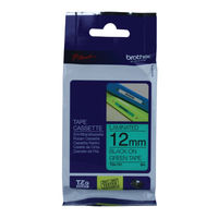 Brother P-Touch Black on Green 12mm Labelling Tape - TZE731