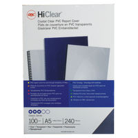 GBC HiClear A5 PVC Binding Covers, Pack of 100 - 4400025