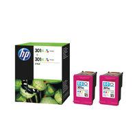 HP 301 XL Tri-Colour Ink Cartridge Twin Pack - High Capacity D8J46AE