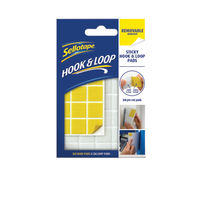 Sellotape Yellow Hook and Loop Removable Pads, Pack of 24 - 2055468