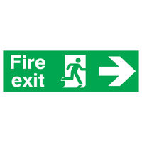 Fire Exit Running Man Arrow Right 150 x 450mm PVC Safety Sign - FX04411R